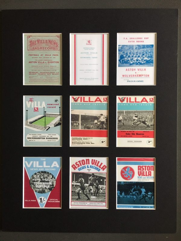 Aston Villa Mounted Retro Football Programmes Picture